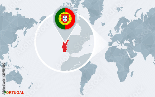 World map centered on America with magnified Portugal. – kaufen Sie ...