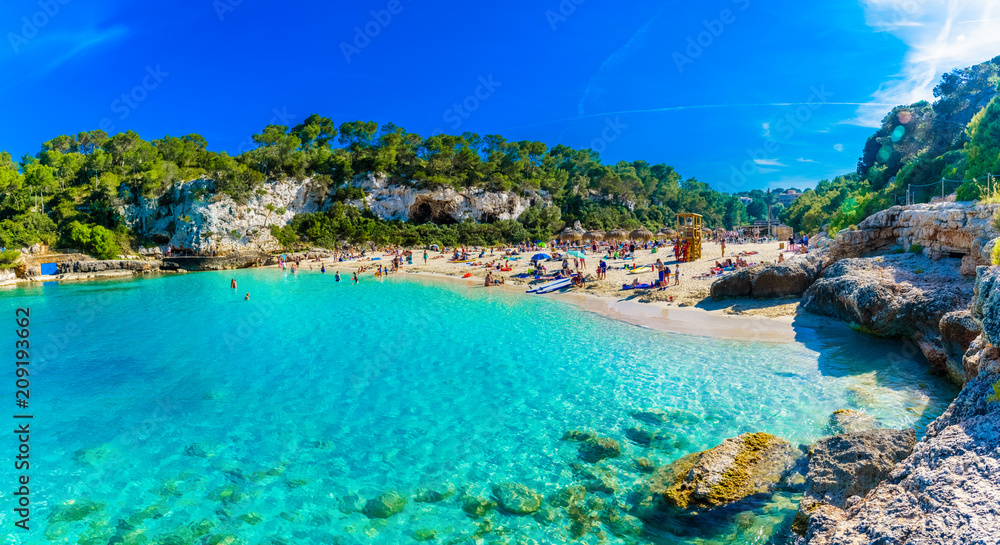 Fototapety, obrazy: Panoramic view of Cala Llombards beach with turquoise clean water in Mallorca island, Spain