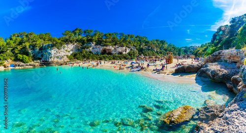 Panoramic view of Cala Llombards beach with turquoise clean water in Mallorca island, Spain