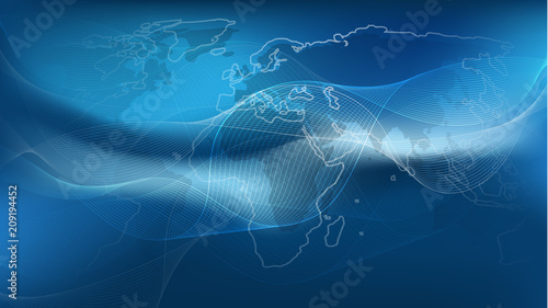 Staande foto Wereldkaart Futuristic Global Business, Cloud Computing, Digital Network Connections and Technology Design Concept with World Map