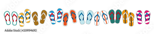 Fotografie, Obraz Colored Flip-Flops White Header