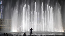 Beautiful Dancing Fountains In Dubai In Night Time.