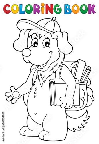 Deurstickers Voor kinderen Coloring book school dog theme 1