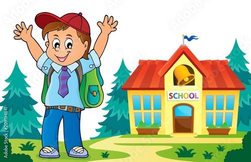 Deurstickers Voor kinderen Happy pupil boy theme image 6