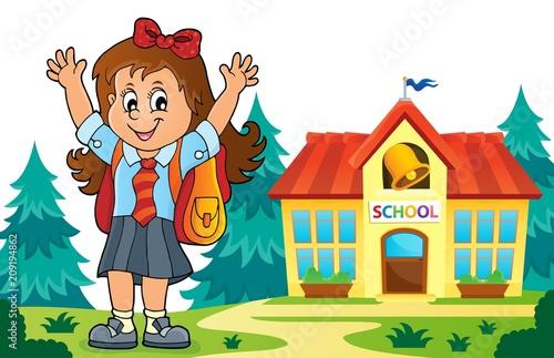 Deurstickers Voor kinderen Happy pupil girl theme image 6