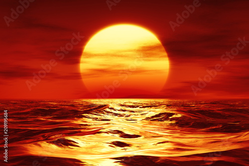 Ingelijste posters Rood traf. a sunset over the wild sea
