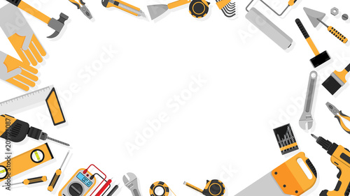 Obraz border frame of black-yellow color tools set as background with blank copy space for your text. vector illustration a part of tools set icons isolated on white background , flat design - fototapety do salonu
