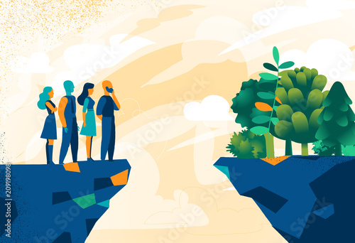 Persone che vogliono riprendere il contatto con la natura Wallpaper Mural