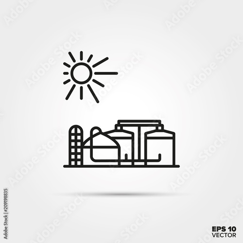 Biogas digester power plant vector icon Wallpaper Mural