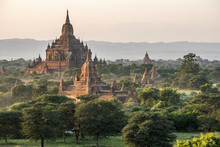 Myanmar, Mandalay Area, Bagan Archaeological Site, View From The Temple Pyathat Gyi At Sunset