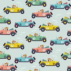 Cute car race seamless vector pattern.