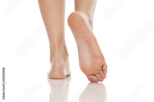 Obraz na płótnie beautifully groomed bare feet on white background