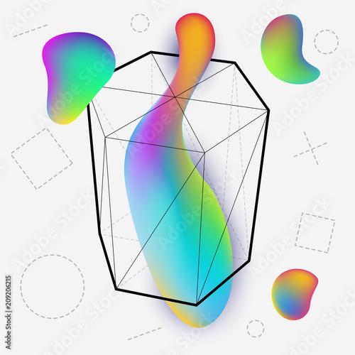 Láminas  Vibrant colorful modern geometric background with vivid gradient shapes