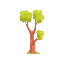 Cartoon Character Of Forest Tree With Sad Face Expression. Park Plant With Bright Green Foliage. Flat Vector Design