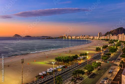 Fotobehang Amerikaanse Plekken Sunrise view of Copacabana beach and Avenida Atlantica in Rio de Janeiro, Brazil