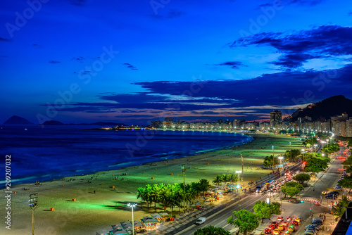 Fotobehang Amerikaanse Plekken Night view of Copacabana beach and Avenida Atlantica in Rio de Janeiro, Brazil