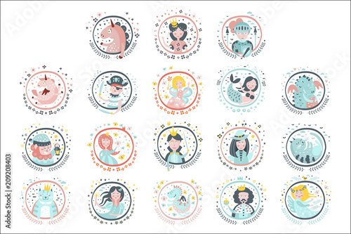 Fairy Tale Heroes Girly Stickers In Round Frames Poster