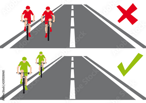 Fotografie, Obraz  Safety on the road, two bycicles, how behave on the road, cyclists are running s