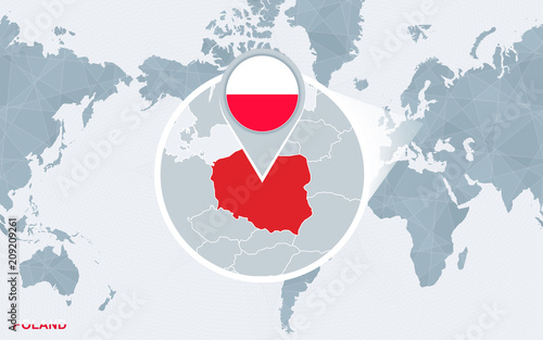 World map centered on America with magnified Poland.