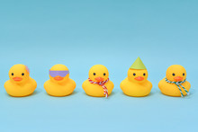 Diversity Concept, Difference Rubber Ducks Manage To Line Up.
