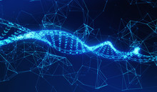 DNA, Helix Model Medicine And Network Connection Lines For Technology Concept On Blue Background, 3d Illustration