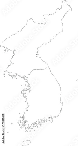 Map Black Outline North And South Korea Map Of The Korean Peninsula