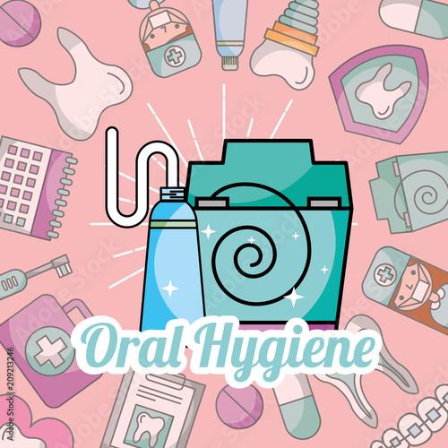 Fotografie, Obraz  oral hygiene toothpaste and floss dentistry vector illustration