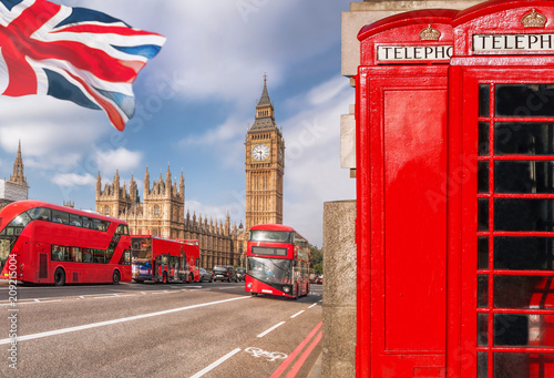 plakat London symbols with BIG BEN, DOUBLE DECKER BUS and Red Phone Booths in England, UK