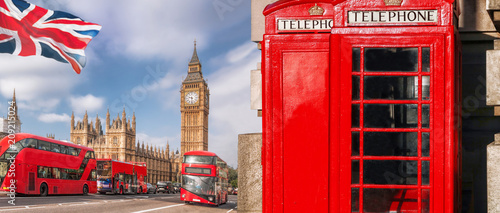 Poster London London symbols with BIG BEN, DOUBLE DECKER BUS and Red Phone Booths in England, UK