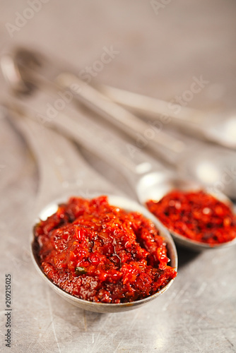 Fotobehang Aromatische chipotle jalapeno smoked hot chilles paste