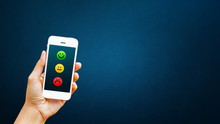 Hand Of Client Select Satisfaction On Smart Phone. Service Rating, Satisfaction, Customer Experience Concept