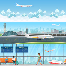 Airport Detailed Horizontal Vector Banners Templates. Waiting Room In Terminal With Passengers People. Travel Concept Flying Aircraft With Mountains In Clouds.