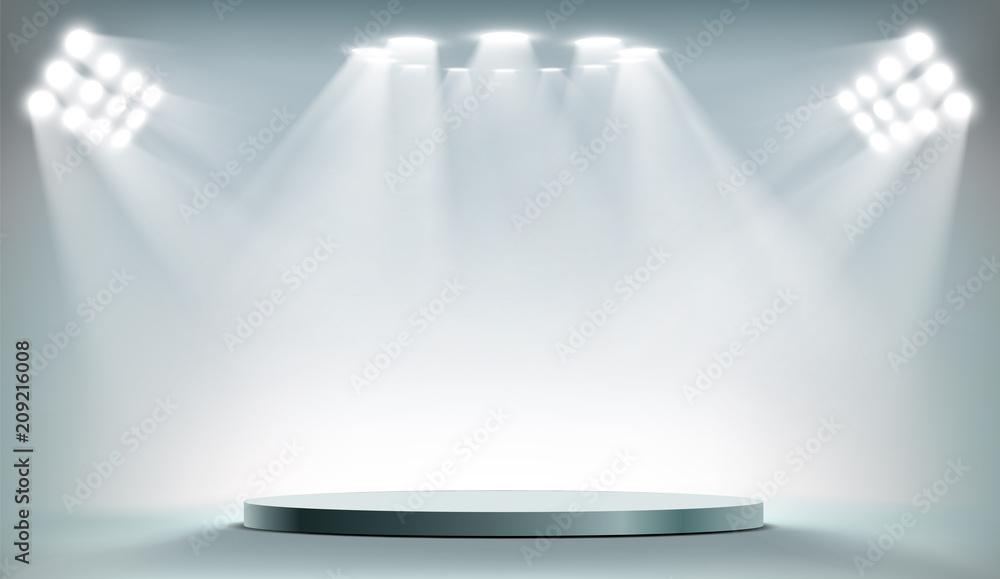 Fototapety, obrazy: Round podium illuminated by searchlights.