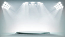 Round Podium Illuminated By Se...