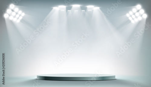 Aluminium Prints Light, shadow Round podium illuminated by searchlights.