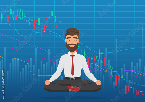 Cuadros en Lienzo Young man trader meditating under falling crypto or stock market exchange chart