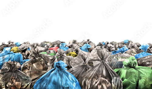 Fototapety, obrazy: A lot of garbage bags on a white background