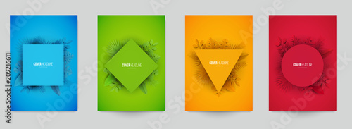 Fotografia Set of minimal geometric background with tropical leafs in paper cut style, design for branding, advertising