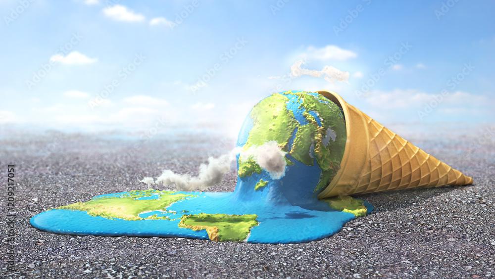 Fototapeta Global warning. Planet as melting ice cream under hot sun. 3d illustration