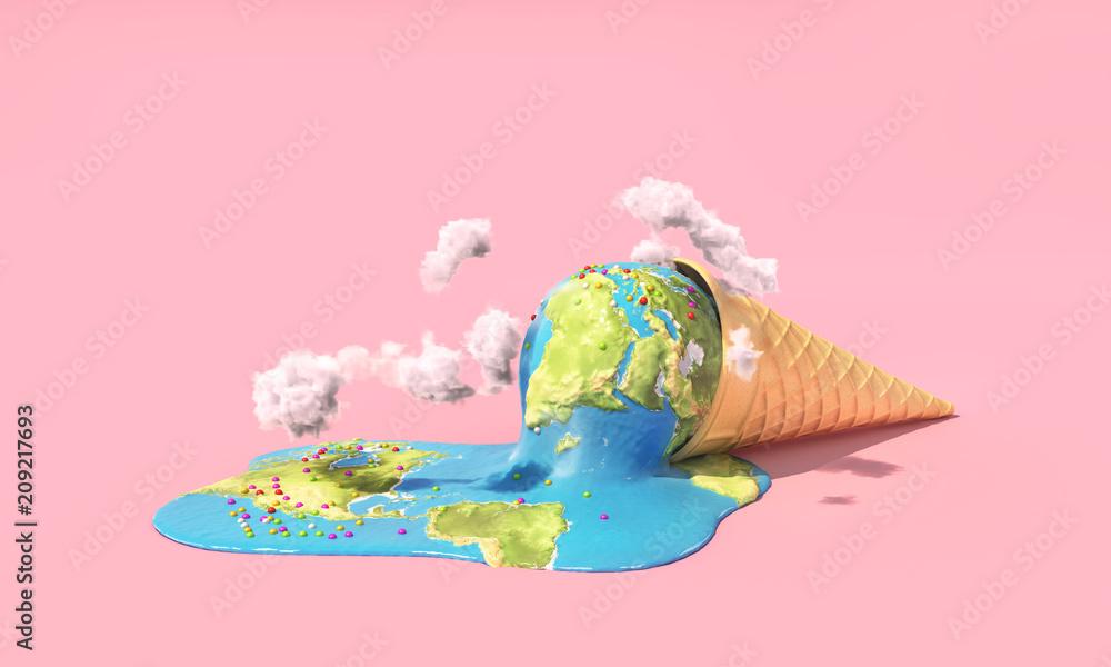 Fototapeta Global warning. Planet as melting ice cream under hot sun on a pink background. 3d illustration