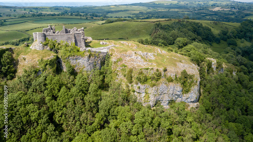 Aerial view of the ruins of an ancient castle on a hilltop (Carreg Cennen, Wales Canvas Print