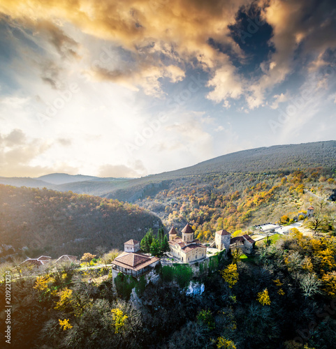 Fotobehang Historisch geb. Picturesque view of Motsameta Monastery and the forests near it, Georgia, aerial
