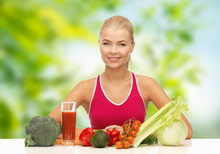 Diet, Healthy Eating And People Concept - Woman With Vegetable Food And Drink Over Green Natural Background