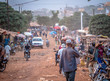 canvas print picture - People on the road street - in Africa