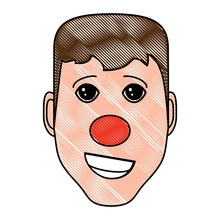 Man With Red Nose Icon Over Wh...