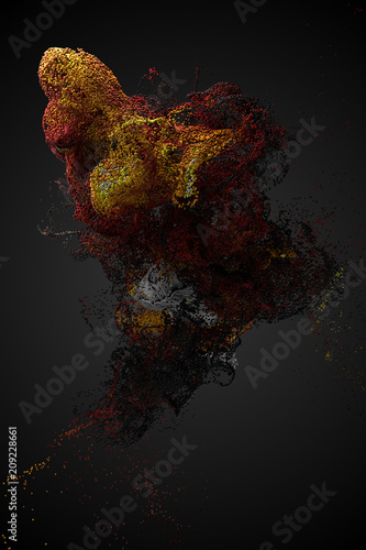 Fotografija  3d render background with a lot of particles