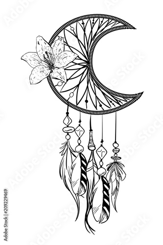 Foto auf AluDibond Boho-Stil Monochrome vector illustration with hand drawn dream catcher. Ornate ethnic items, feathers, beads and flower.