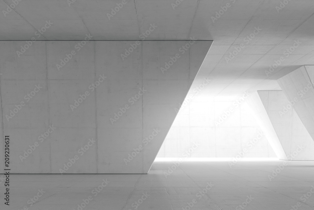 Fototapety, obrazy: Abstract Empty space with white wall. Modern blank showroom with floor. Future concept. 3d rendering.