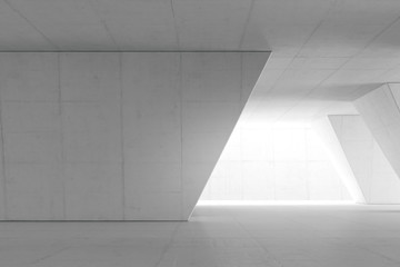 Abstract Empty space with white wall. Modern blank showroom with floor. Future concept. 3d rendering.