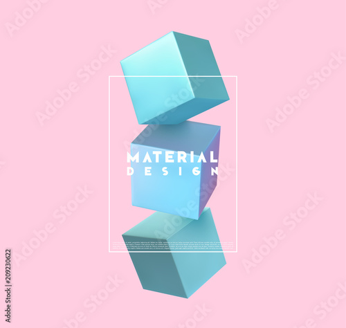 Stampa su Tela Minimal abstract art with geometric shapes, stylish background with 3d elements blue cube
